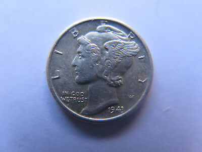 1943 S SAN FRANCISCO MINT USA MERCURY SILVER DIME in EXCELLENT CONDITION