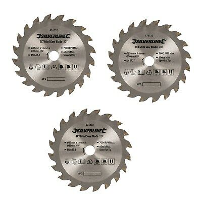 85mm X 10mm BORE MINI SAW BLADE 20 TEETH PACK OF 3