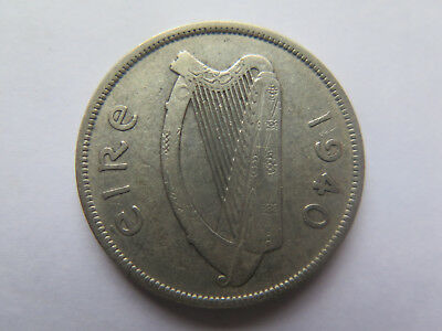 1940 Ireland Silver Halfcrown 2 1/2 Shillings Scarce Irish