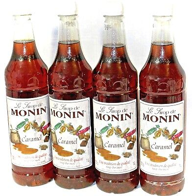 4 x Monin Caramel Syrup 1 litre Bottles Boxed  World Famous Coffee Syrup Brand