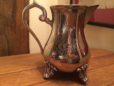 "Vintage Silver Plated Ornate Footed Milk Jug 4"" 225 gms"