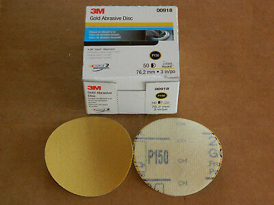 "New Box Of 3M 00918 Hookit Finishing Gold Abrasive Film Discs P150 Grit 3"" Inch"