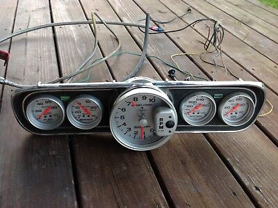 1966 66 Ford Mustang cluster panel Autometer auto meter Gauges fuel boost tach