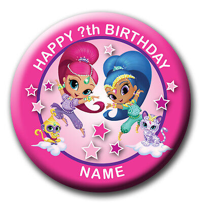 Personalised Shimmer And Shine Birthday Badges / Fridge Magnet / Mirror Gift