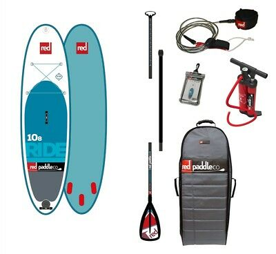"""Red 10' 8"""" Ride MSL Inflatable Paddleboard Package, 2017."""