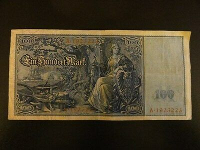 1909 German Weimar Germany 100 Reichsbanknote Currency Note