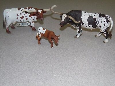 SCHLEICH 13684 13685 13721 Texas Longhorn Bull Cow Calf Group - Set of 3 w/Tags