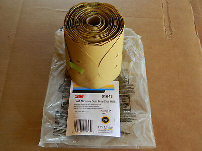 """New Roll Of 3M 01643 Stikit Gold Disc Dust Free 6"""" Discs P80 Grit 125 Discs/roll"""