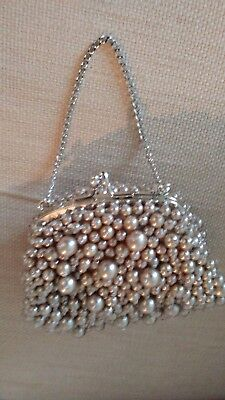 Oyster White Pearl Clutch Evening Handbag Purse