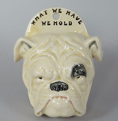 SUPER RARE Royal Doulton Bulldog Wall Pocket WHAT WE HAVE WE HOLD Bull Dog