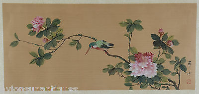 Vintage Chinese Watercolour Painting on Silk Kingfisher & Flowers Signed