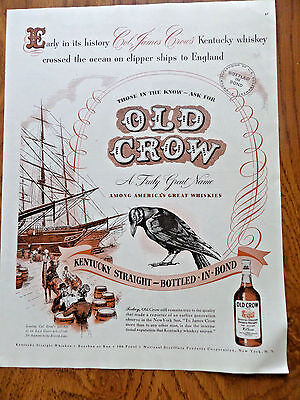 1947 Old Crow Whiskey Ad Clipper Ships to England @ East Coast Wharfside