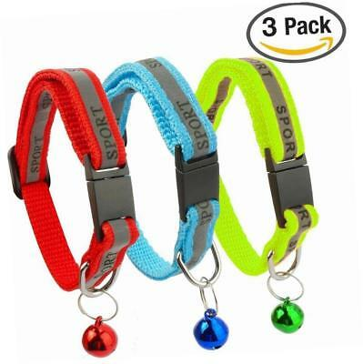 Kittygo® 3 PACK Reflective Cat Collar with Bell Set of 3 (Red, Blue, Green)
