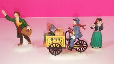 Department 56 Christmas Village Style Figure Lot 24 - Delivery Cart Hailing Taxi