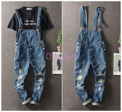 New Men Vintage Denim Jeans Pant Overall Slim Fit Suspender Trousers Ripped Hole
