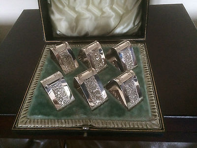 Stunning Set Of 6 Highly Decorated Triangular Shaped Silver Plated Napkin Rings