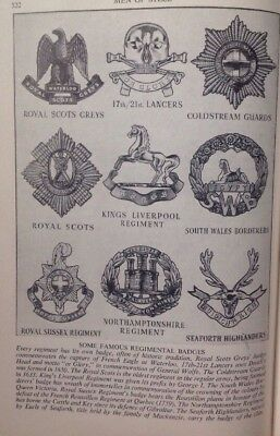 Some Famous Regimental Badges,  WW2 Vintage Print C1943, Army, Air Force, Navy