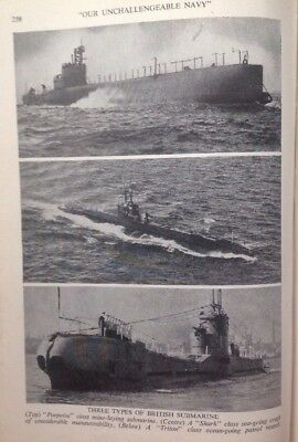 Three Types Of British Submarine, WW2 Vintage Print C1943, Army, Air Force, Navy