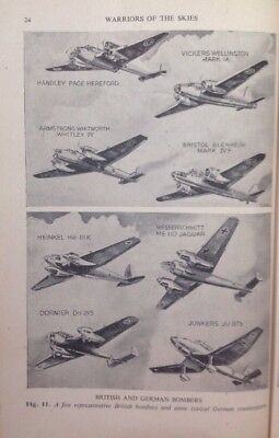 British And German Bombers, WW2 Vintage Print C1943, Army, Air Force, Navy