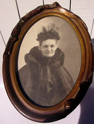 Antique Small Oval Photo Older Woman Mourning in Black Born 1834 Died 1916