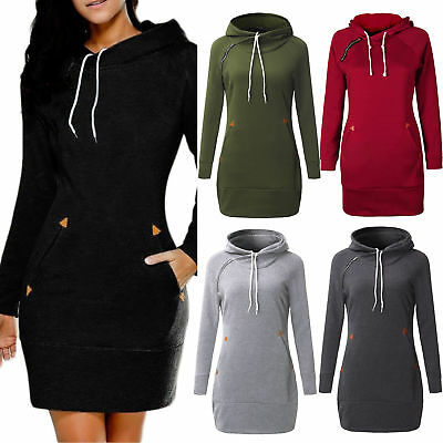 Women's Long Sleeve Sweatshirt Hooded Casual Ladies Jumper Sweater Mini Dress UK