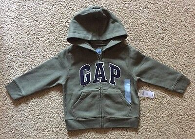 Toddler Boy Size 3 3T Baby Gap Arch Logo Army Green Zip Up Hoodie