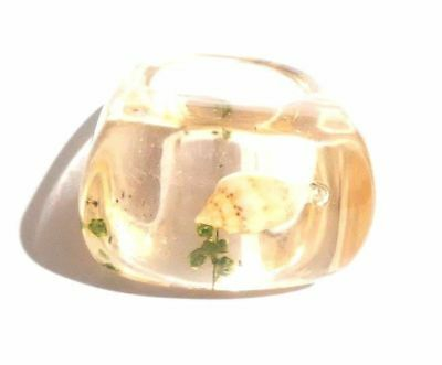 Vintage Mid Century Modern Handmade Clear Lucite Ring With Sea Snail Size 6 1/2