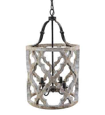 Stunning Rustic French Boho Anthropologie Style Carved Drum Wood Chandelier
