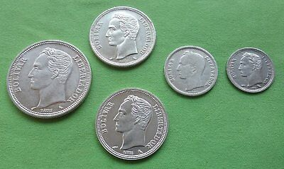 Lot 5x Silver 835 Coin Bolivares Venezuela Dollar Auction Y#A37 Y#37a Y#36 Y#35