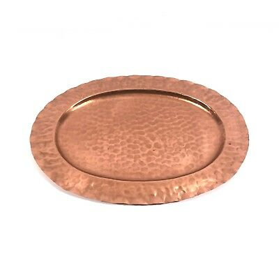 """Large 15"""" Vintage Schaefer Hand Hammered Solid Copper Tray - Great Rustic Decor!"""
