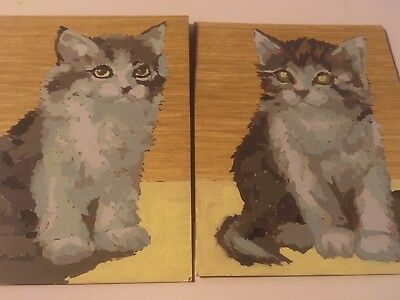 Vtg Pair Gray Kittens Cats Paint By Number Paintings