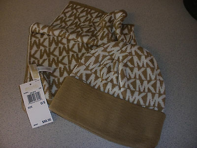 Michael Kors Signature Logo Hat Scarf Gift Set MSRP $88 CREAM/CAMEL