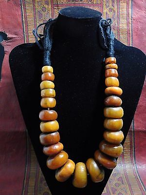 AFRICAN ETHNIC BERBER RESIN BEADS WITH METAL INSERtS NECKLACE