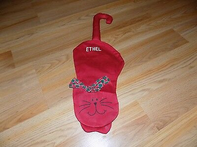 Cat Shaped Pet Christmas Holiday Stocking Red ETHEL Embroidered Hangs by Tail
