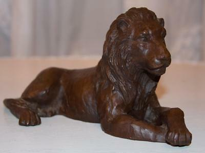 Vintage Red Mill Mfg Carved Wood Look African Lion Made of Pecan Shells USA