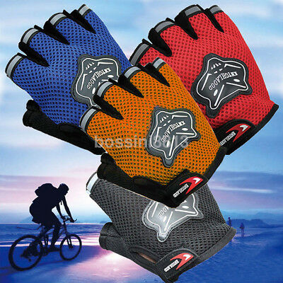Outdoor Sports Cycling Bicycle Bike Gel Half Fingers Fingerless Gloves Adult Kid