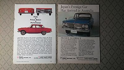 2 X Vintage 1964 1965 Prince Gloria 6 Original Australian Advert Advertisement