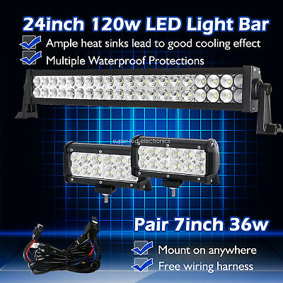 """24Inch LED Work Light Bar Spot Flood Combo + 7""""in CREE Pods Truck Offroad 4X4 20"""