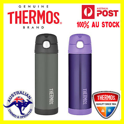 Thermos Funtainer S/Steel Vacuum Insulated Drink Bottle 470ml Charcoal or Purple