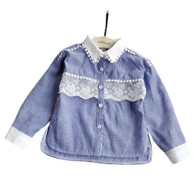 Baby Girls Flower Lace Blouse Turn-down Collar Single Breasted Girs Shirts