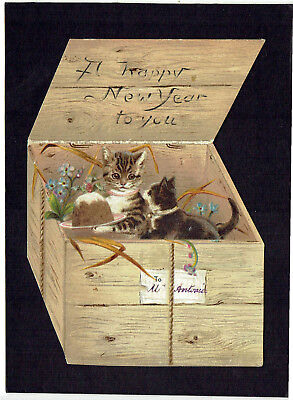 Tuck Shaped Victorian New Year Greetings Card Anthropomorphic Cats Xmas Pudding