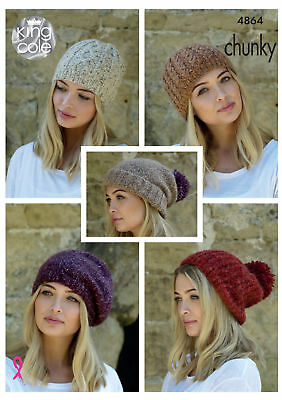 Womens Hats Knitting Pattern Ladies Winter Accessories King Cole Chunky 4864