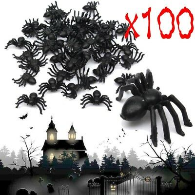 100X Neu Plastic Black Spider Trick Toy Party Halloween Haunted House Prop Decor