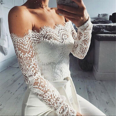 Casual Long Jumpsuit Ladies Womens Off Shoulder Long Sleeve Ripped Play suits