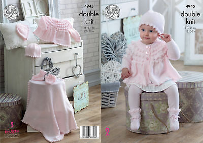 Baby Double Knitting Pattern Jacket Hats Mittens Bootees Blanket King Cole 4945