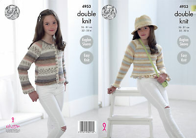 Easy Knit Double Knitting Pattern King Cole Girls Raglan Jumper & Cardigan 4953