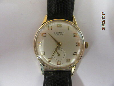 9ct Gold Bernex Manual Wind Wrist Watch In GWO Presented by British Railways