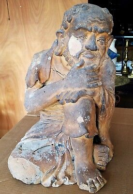 Large Early Antique Chinese or Japanese Terra Cotta Figure Statue Old Scholar