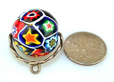 Antique Victorian Sterling Silver Huge 18.6 Mm Millefiori Bead Watch Fob Charm