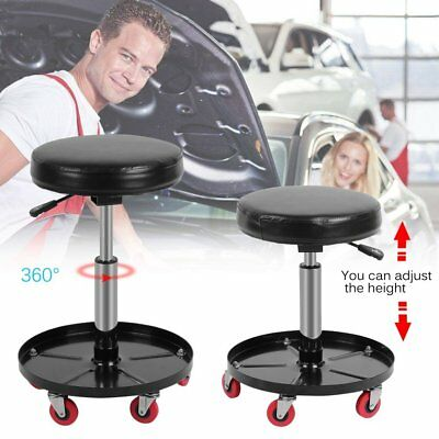Workshop Garage Stool Seat Chair Adjustable Flexible With 5 Wheels & Tool Tray D